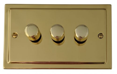G&H TB13 Trimline Plate Polished Brass 3 Gang 1 or 2 Way 40-400W Dimmer Switch